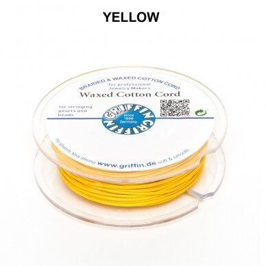 Griffin® Waxed Cotton Cord 1mm diameter Yellow (20m)