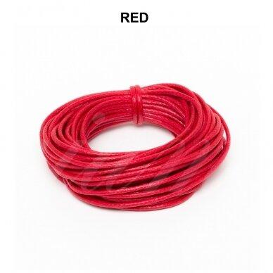 Griffin® vaškuota medvilninė virvelė 2.5mm diametro Red (5m)