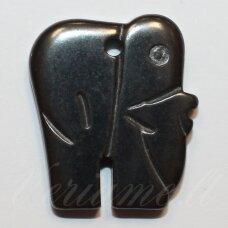 HEMP0049 apie 23 x 19 mm, dramblio forma, hematitas, pakabukas, 1 vnt.