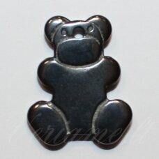 HEMP0068 apie 22 x 19 mm, meškino forma, hematitas, pakabukas, 1 vnt.