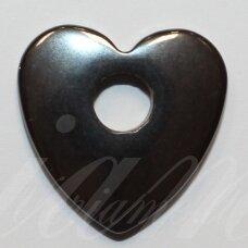 hemp0075 apie 20 x 20 mm, širdutės forma, hematitas, pakabukas, 1 vnt.