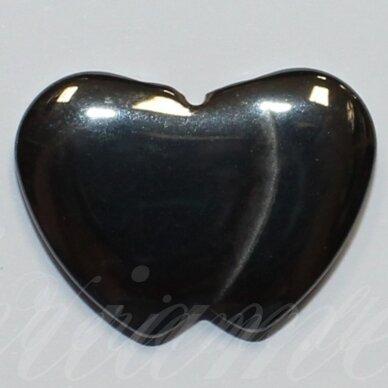 hemp0017 apie 20 x 27 mm, širdutės forma, hematitas, pakabukas, be skylės, 1 vnt.