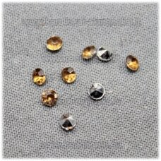 ikp0010 about 3 x 2 mm, pointed back acrylic, brown color, about 700 pcs.