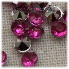 IKP0015 apie 3 x 2 mm, inkrustuojama akrilinė akutė, tamsi, rožinė spalva, apie 500 vnt.