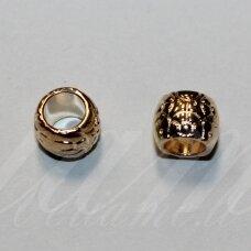 IND0401 apie 7 x 9 mm, skylių,6 mm, rusiško aukso spalva, plastikinės, intarpas, 1 vnt.