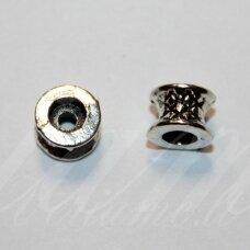 IND0536 apie 5 x 7 mm, skylių,4 mm, metalo spalva, metalinis, intarpas, 1 vnt.