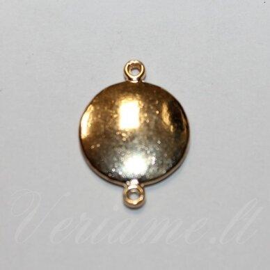 IND0300 apie 23 x 16.5 x 3 mm, šviesi, auksinė spalva, metalinis intarpas, 1 vnt.