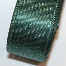 j0243 apie 10 mm, tamsi, žalia spalva, atlasinė juostelė, 10 m.