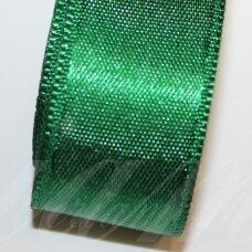 j0245 apie 20 mm, tamsi, žalia spalva, atlasinė juostelė, 10 m.