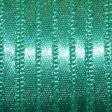 j0290 apie 10 mm, melsvai žalia spalva, atlasinė juostelė, 10 m.