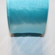 j0333 apie 5 mm, žydra spalva, atlasinė juostelė, 10 m.