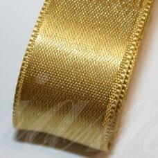 J0375 apie 38 mm, aukso spalva, atlasinė juostelė, 1 m.
