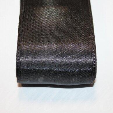 j0110 apie 30 mm, juoda spalva, atlasinė juostelė, 10 m.