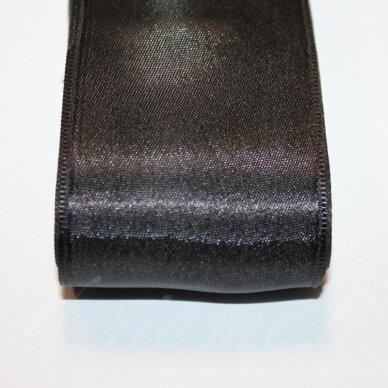 j0110 apie 50 mm, juoda spalva, atlasinė juostelė, 1 m.