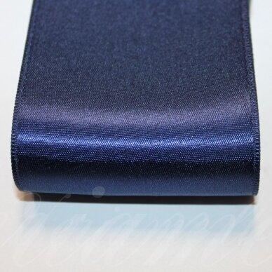 j0120 apie 66 mm, tamsi, mėlyna spalva, atlasinė juostelė, 10 m.