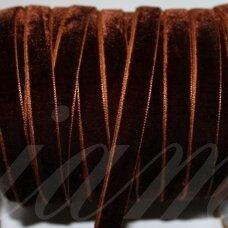 jak0016-05 apie 5 mm, tamsi, ruda spalva, aksominė juostelė, 1 m.