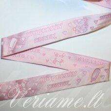 jas0027 apie 27 mm, rožinė spalva, marga, satino juostelė, 1 m.