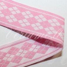 jas0036 apie 22 mm, rožinė spalva, marga, satino juostelė, 1 m.