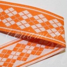 jas0037 apie 21 mm, oranžinė spalva, marga, satino juostelė, 1 m.