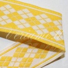 jas0041 apie 21 mm, geltona spalva, marga, satino juostelė, 1 m.