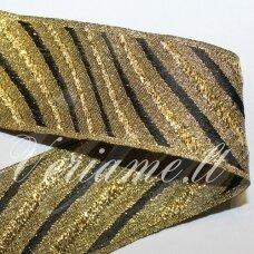 jas0046 apie 31 mm, auksinė spalva, marga, satino juostelė, 1 m.