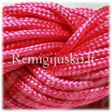 jasm0007 apie 1.5 mm, rožinė spalva, satino virvutė, apyrankių pynimui, apie 12m.