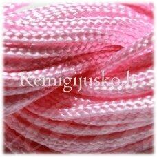jasm0010 apie 1.5 mm, rožinė spalva, satino virvutė, apyrankių pynimui, apie 12m.