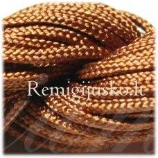 jasm0014 apie 1.5 mm, ruda spalva, satino virvutė, apyrankių pynimui, apie 12 m.