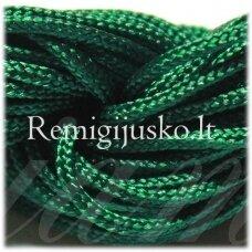 jasm0016 apie 1.5 mm, žalia spalva, satino virvutė, apyrankių pynimui, apie 12m.