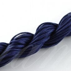 jasm0023 apie 1.5 mm, tamsi, mėlyna spalva, satino virvutė, apyrankių pynimui, apie 12m.