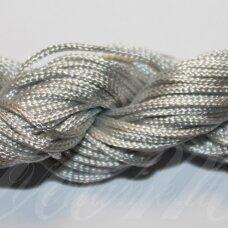 jasm0030 apie 1.5 mm, pilka spalva, satino virvutė, apyrankių pynimui, apie 12m.