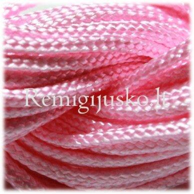 jasm0010 apie 1.5 mm, rožinė spalva, satino virvutė, apyrankių pynimui, apie 12 m.
