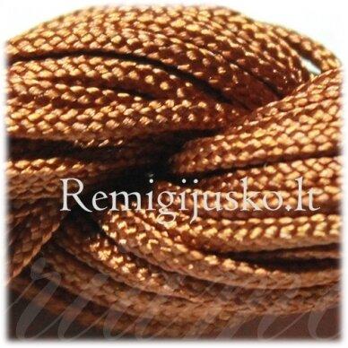 jasm0014 apie 2 mm, ruda spalva, satino virvutė, apyrankių pynimui, apie 12 m.