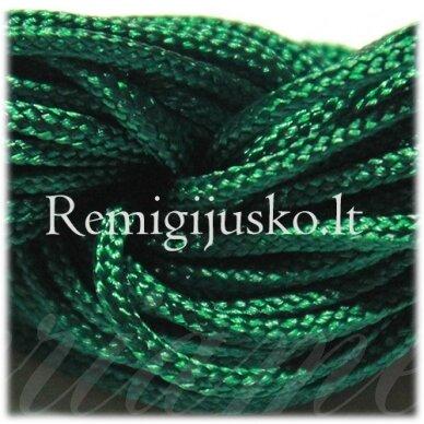 jasm0016 apie 1.5 mm, žalia spalva, satino virvutė, apyrankių pynimui, apie 12 m.