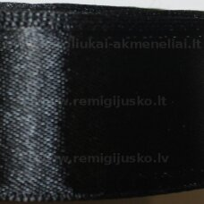 JL0110 apie 25 mm, juoda spalva, atlasinė juostelė, 25 m.