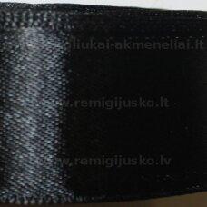 jl0110 apie 6 mm, juoda spalva, atlasinė juostelė, 25 m.