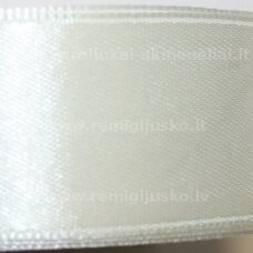 jl0562 apie 25 mm, balta spalva, gelsvas atspalvis, atlasinė juostelė, 25 m.
