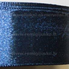 jl0579 apie 25 mm, tamsi, mėlyna spalva, atlasinė juostelė, 25 m.