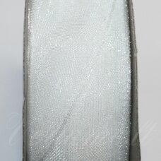 JOR0001 apie 10 mm, balta spalva, organzinė juostelė, apie 23 m.