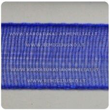jor0008 apie 30 mm, mėlyna spalva, organzinė juostelė, 1 m.