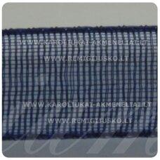 jor0009 apie 20 mm, tamsi, mėlyna spalva, organzinė juostelė, 1 m.