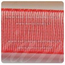 JOR0016 apie 20 mm, raudona spalva, organzinė juostelė, apie 23 m.