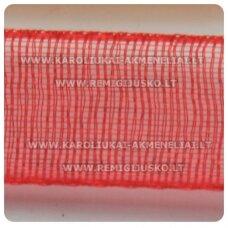 jor0016 apie 40 mm, raudona spalva, organzinė juostelė, apie 23 m.