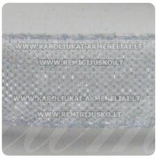 JOR0021 apie 20 mm, pilka spalva, organzinė juostelė, apie 23 m.