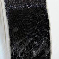 JOR0022 apie 20 mm, juoda spalva, organzinė juostelė, apie 23 m.