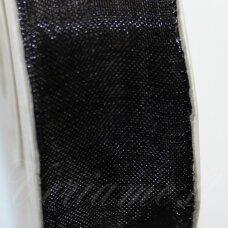 jor0022 apie 6 mm, juoda spalva, organzinė juostelė, apie 23 m.