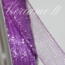 JOR0023 apie 40 mm, violetinė spalva, organzinė juostelė, 1 m.