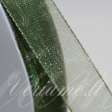 JOR0030 apie 20 mm, žalia spalva, organzinė juostelė, apie 23 m.