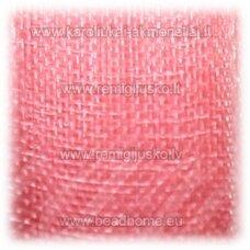 JOR0075 apie 10 mm, šviesi, rožinė spalva, organzinė juostelė, apie 23 m.