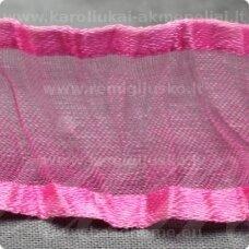 JORG0001 apie 25 mm, rožinė spalva, organzinė juostelė, 1 m.